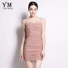 YuooMuoo Bodycon Dress Women Little Black Dress Spaghetti Strap Club Mini Dress Sundress