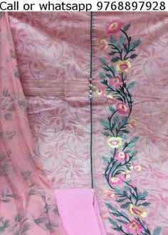 Rajasthani Gota Patti work Suits: Chanderi silk suits for ladies at wholesale prices Ribbon Embroidery Tutorial, Hand Embroidery Dress, Embroidery On Kurtis, Kurti Embroidery Design, Embroidery Fashion, Hand Embroidery Designs, Embroidery Works, Colour Combination For Dress, Hand Work Design