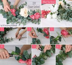 How to make a greenery table garland diy tutorial super easy diy flower garland solutioingenieria Images