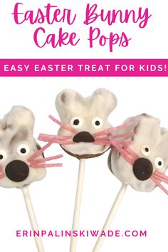 This easy Easter treat is perfect when you have little ones wanting to help! No Bake Easter Bunny Cake Pops are also healthier compared to regular cake pops. All you need is peanut butter, oats, protein powder, and greek yogurt! Then decorate!