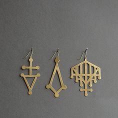 cutout brass earrings
