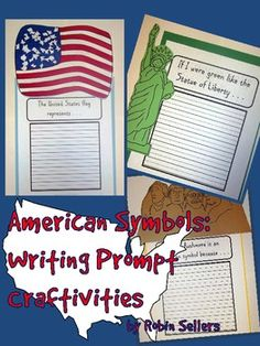 American Symbols {Statue of Liberty, American Flag, Mount Rushmore} Writing Prompt Craftivities (86 pages)--a fun way to add a craft and a writing prompt. Great for simple reports too. {NEW} TpT$...