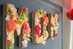 Floral letters. Such a pretty way to decorate walls of a room with any name