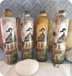Купить Комплект бутылок ,,Аромат Риги,,бутылки,декупаж - бутылка, бутылки, комплект бутылок