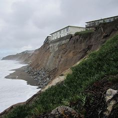 Eroding sea cliffs along the Pacifica coast just south of San Francisco, CA during the 1997-98 El Nino winter.