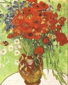 Red Poppies and Daisies Vincent van Gogh art for sale at Toperfect gallery. Buy the Red Poppies and Daisies Vincent van Gogh oil painting in Factory Price. Art Van, Van Gogh Art, Art Floral, Vintage Floral, Unique Vintage, Vincent Van Gogh, Van Gogh Still Life, Van Gogh Pinturas, Van Gogh Paintings