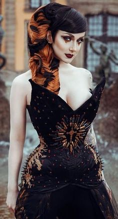 2730f4a8c5a Missy Queen wearing corset   skirt by Holly Rafaela. Photo by Hanny  Honeymoon Photography