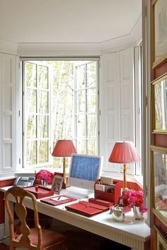 Chic red & white office space by Carolyne Roehm