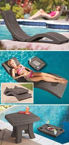 this summer.   Floating Chaise Lounge and Table, Pool Lounge, Pool Furniture | Solutions @Ellie Geenen, @Ashley Wundrow, @Ashley Poppe, @Sarah Hennig....this is what we need up north.