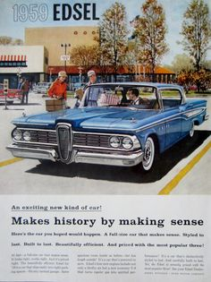 1958 '59 Ford Edsel Vintage Advertisement Automotive Wall Art Man Cave Decor Classic Car Print Original Magazine Print Ad Auto Ephemera by RelicEclectic on Etsy