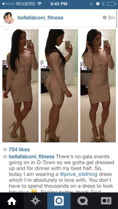 The beautiful Bella fitness model!  wearing Prive Clothing's Karina Nude dress  www.priveclothing.com