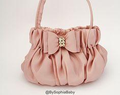 Light Pink Flower Handbag Girls Pink Purse Girls by BySophiaBaby