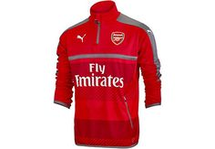 25a17e44147 Puma Arsenal 1 4 Zip Training Top - High Risk Red   Steel Gray -  SoccerPro.com