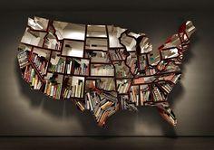 Креативные полки в виде карты мира