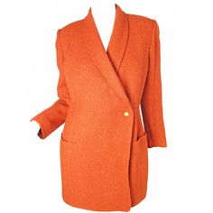 Pre-owned Sonia Rykiel Orange Coat (9.486.415 VND) ❤ liked on Polyvore featuring outerwear, coats, coats and outerwear, orange coat, woolen coat, leather-sleeve coats, orange wool coat and wool coat