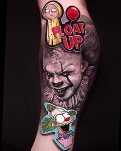 Everyone's favorite clown 🤡 Tattoo by Chicano Tattoos Sleeve, Body Art Tattoos, New Tattoos, Tattoos For Guys, Cool Tattoos, Movie Tattoos, Clown Tattoo, Graffiti Doodles, Realism Tattoo