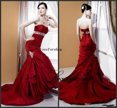 2015 New Design Red Satin Taffeta Sash Mermaid Wedding Evening Dresses Applique Strapless Sweep Train Lace-up Cheap L021425, $103.67 | DHgate.com