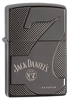 Zippo Jack Daniel's Armor Old No. 7 Pocket Lighter, Black Ice