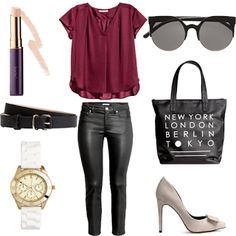 Look # 45 -Outfit Idea - Satin Blouse- Skinny-fit Pants-Pumps-Shopper Bag-Narrow Belt-Concealer-Watch by HM| Style Spacez