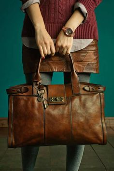 beautiful brown leather bag and skirt