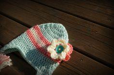 Flowered Beanie/Crocheted Hat/Baby Girls hat. $18.00, via Etsy.