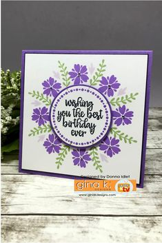 Stamps and Dies: Wreath Builder Mini Kit Ink: GKD Wild Lilac, Lovely Lavendar, Jelly Bean Green, Black Onyx GKD Pure Luxury Card Stock: White, Black Onyx, Wild Lilac Other: Tiny Rhinestones