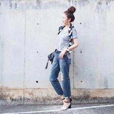 . 相変わらずGUのVネックTシャツが好き過ぎて、隙あれば着てますw . #GU#IENA#UNIQLO#ユニクロ#uniqloginza #fashion#coordinate#outfit#ootd#JAPAN」