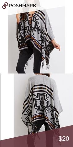 "NEW Aztec Fringed Poncho Cardigan A cozy, boxy fit brings poncho panache to this cute oversize cardi! Instarsia knit forms a trendy tribal design, while an open front drapes into a fun fringed hem.  Product Fit: One size fits all. One size measures 27"" from top to hem; 4"" fringe. Product Care: acrylic / machine wash / imported Charlotte Russe Sweaters Shrugs & Ponchos"