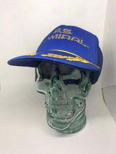 2ff86cc5f11dc Vintage S.S. Admiral Snapback Mesh Trucker Hat Blue Adjustable Rope Hat
