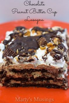 Chocolate Peanut Butter Cup Lasagna Recipe ~ Chocolate, cream cheese, peanut butter cups, whipped cream and chocolate graham crackers make this dessert unbelievable!