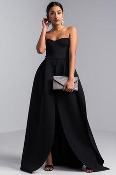 AKIRA Strapless Layered Mini Maxi Neoprene Scuba Dress in Black