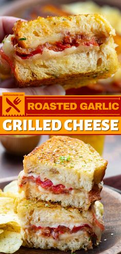 Roasted Garlic Grilled Cheese is a hearty homemade sandwich recipe made with artisan bread, a roasted garlic spread, two kinds of cheese, tomato, and bacon. This easy dinner idea is delicious! Save this pin. Bbq Meatloaf, How To Cook Meatloaf, Meatloaf Recipes, Meatloaf Ingredients, Garlic Spread, Mashed Potato Casserole, Homemade Sandwich, Grilling Ideas