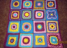 Crochet sampler block Afghan for charity - Edie