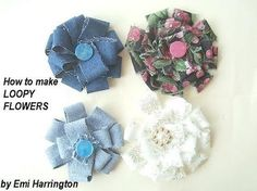 LOOP FLOWERS FROM FABRIC SCRAPS - YouTube