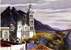 Monterrey Cathedral, Mexico - Edward Hopper 1943 America Aquarell auf Papier, x 77 cm American Realism, American Artists, Manet, Edward Hopper Paintings, Statues, Ashcan School, Philadelphia Museum Of Art, Philadelphia Pa, Belle Villa