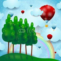 #Countryside and hot air balloons #vector #stockimage