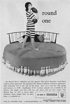 Cute vintage ad for a round bed.  This one is kind of plain looking, though.  I guess that's the point, to make it look more affordable to the average person.