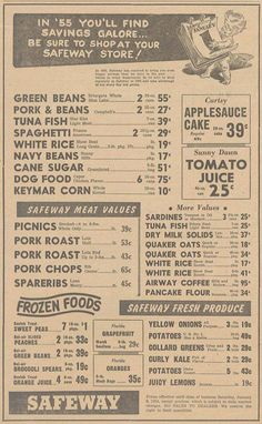 """1955 Safeway Ad. - Great """"Diner"""" typography look. Good reference for a vintage style diner menu."""