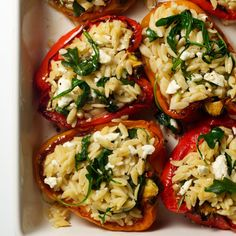 Baby argula and feta cheese combine with orzo for this simple recipe for Orzo-Stuffed Peppers. You can prepare this meatless main dish up to 12 hours before serving. Just cover baking dish with foil, refrigerate, and reheat at 400 degrees.