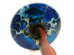 Blue SEA SEDIMENT JASPER Top Whorl Drop Spindle by zebisisdesigns