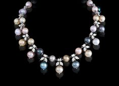 - Multi-coloured Pearl & Diamond Necklace White gold necklace made with carats of round cut diamonds and carats of multi-coloured southsea pearls Pearl And Diamond Necklace, Pearl Choker Necklace, Pearl Diamond, Pearl Jewelry, Beaded Jewelry, Jewelry Necklaces, Jewlery, Fantasy Jewelry, Necklace Designs