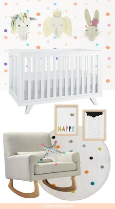 Rainbow Dots Nursery Design Board - this playful nursery is styled around Project Nursery's super-chic Wooster Crib!