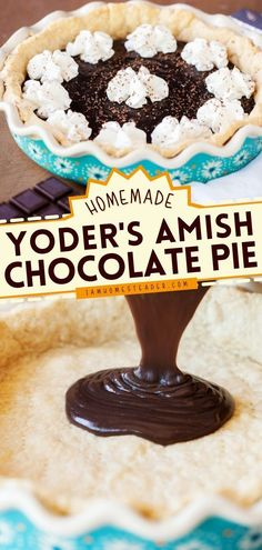 Looking for an easy chocolate dessert recipe? Try this Yoder's Amish Chocolate Pie! This homemade pie recipe is piled with whipped cream and finished with chocolate shavings. It's the best dessert ever! Easy Chocolate Desserts, Chocolate Pies, Vegetarian Chocolate, Fun Desserts, Dessert Recipes, Easy Pie Recipes, Easy Homemade Recipes, Homemade Pie, Baked Pie Crust