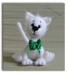 White Cat OOAK Stuffed Animals Crochet Handmade Soft toy decor Amigurumi Made to order