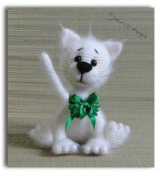 White Cat OOAK Stuffed Animals Crochet Handmade Soft toy