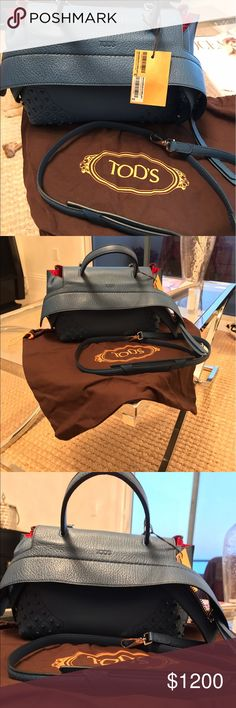 Handbag Denim Tods Bag with shoulder strap. Brand New condition. Never used. No defects. Sold out bag. Tod's Bags Shoulder Bags