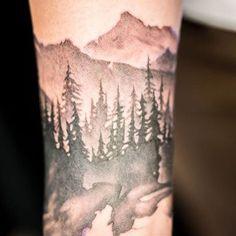 1/4 sleeve greyscale forest and mountain sleeve (Chronic Ink Toronto - Tegan Rush)