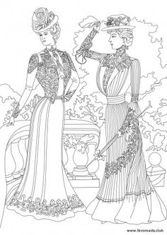 Women in the Garden - Victorian Era FREE Coloring page.