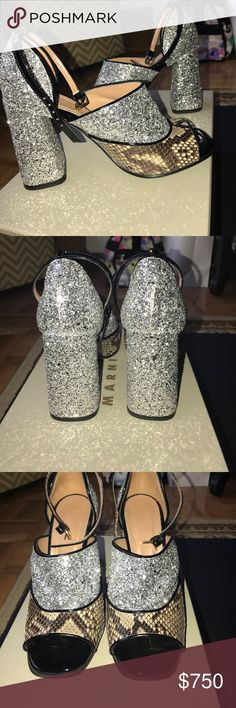 Marni leather and glitter heels Gorgeous Marni leather and silver glitter open toe heels. Worn once, very little wear on the bottom. Approx 4 inch heel, ankle strap. Shoes in like new condition. Comes with 2 dust bags (not the box). No trades please. Marni Shoes Sandals