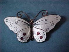 Opro Norway  Sterling Enamel Butterfly Brooch